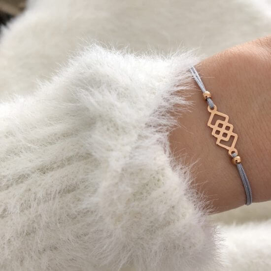 Armband Quadrat 925 Silber Roségold