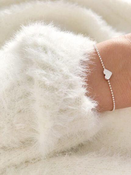 Armband Herz Kugelkette Silber