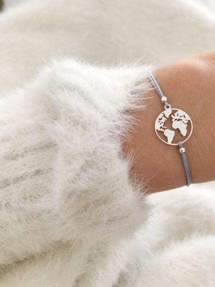 Armband Weltkarte 925 Silber