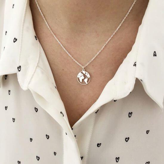 Halskette Weltkarte 925 Silber
