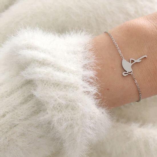 Armband Flamingo Edelstahl Silber