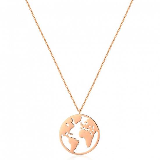 Halskette Weltkarte Edelstahl Roségold