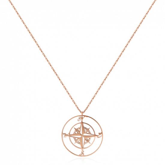 Halskette Kompass Edelstahl Roségold