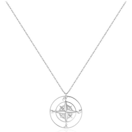 Halskette Kompass Edelstahl Silber