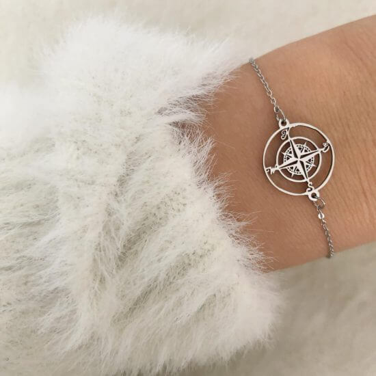 Armband Kompass Edelstahl Silber