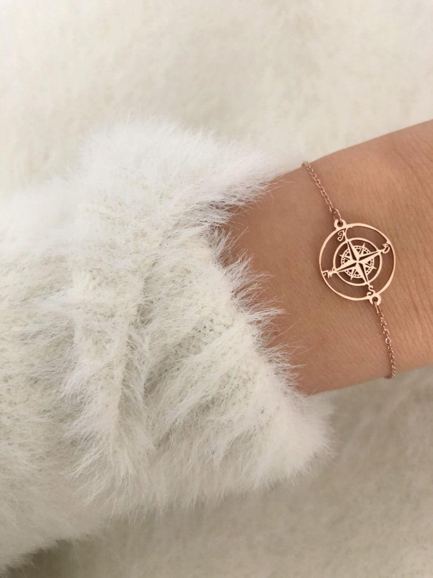 Armband Kompass Edelstahl Roségold