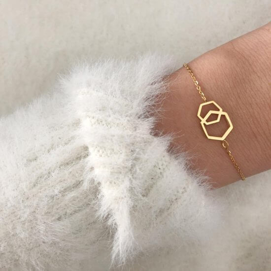 Hexagon Armband Gold
