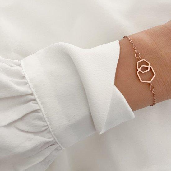 Hexagon Armband Roségold