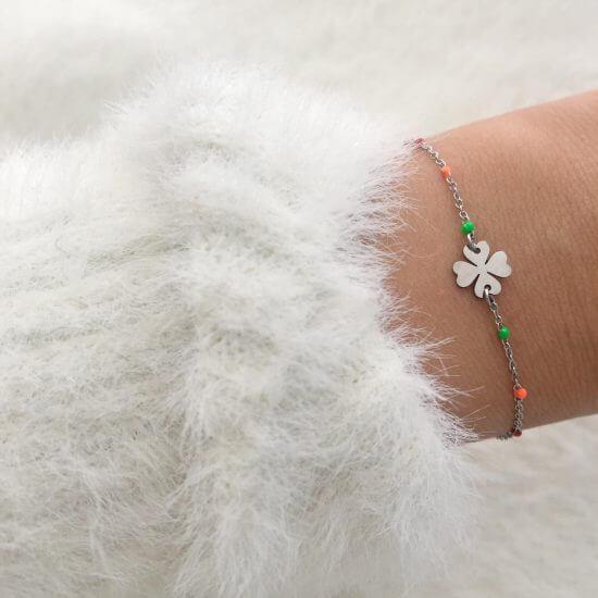 Armband Kleeblatt Silber Edelstahl