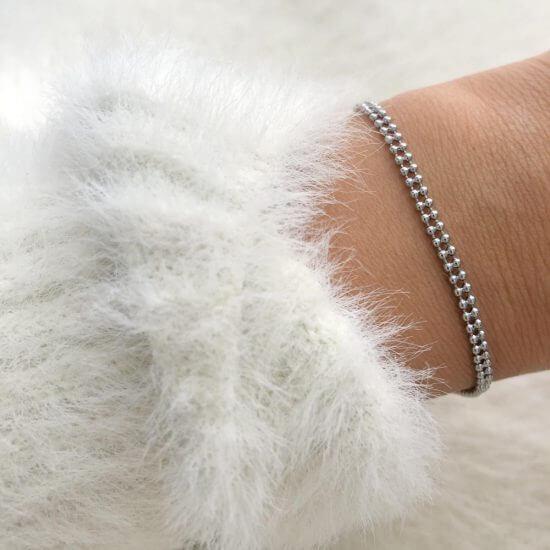 Armband Kugelkette Edelstahl Silber