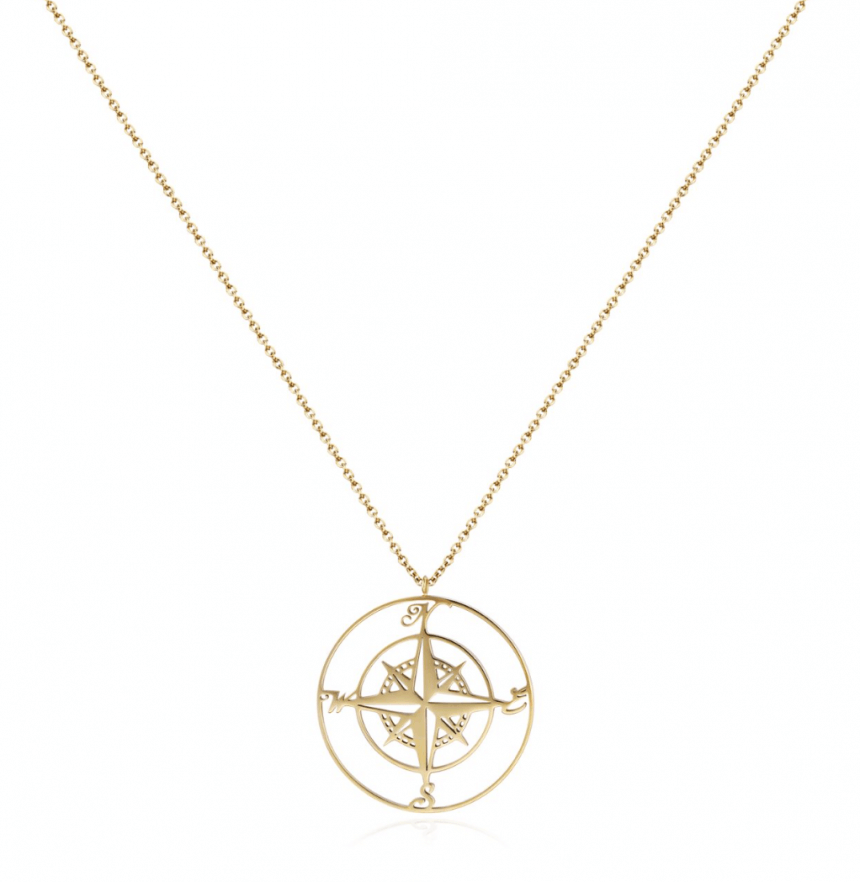 Halskette Kompass Edelstahl Gold