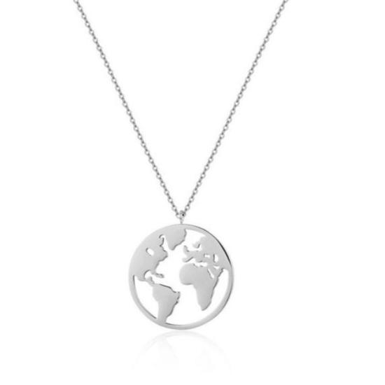 Halskette Weltkarte Edelstahl Silber