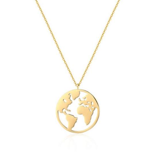 Halskette Weltkarte Edelstahl Gold