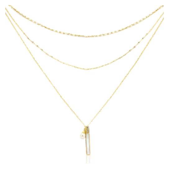 Halskette Pearl Layer Edelstahl Gold