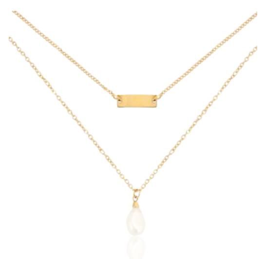 Halskette Two Layer Edelstahl Gold