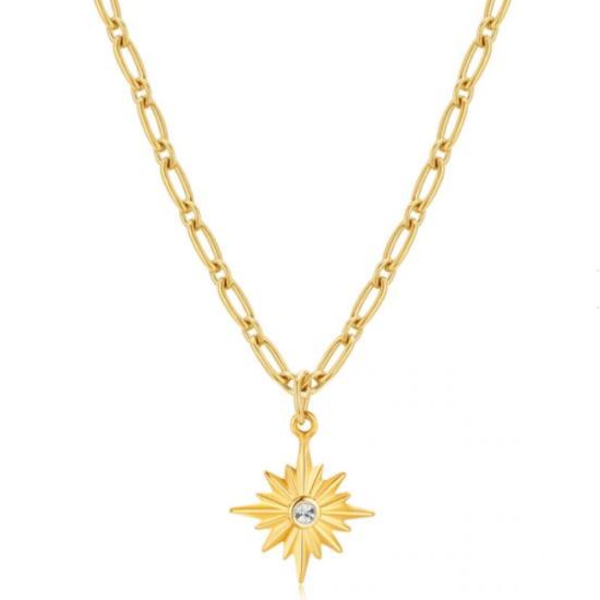 Halskette Pole Star Gold Edelstahl