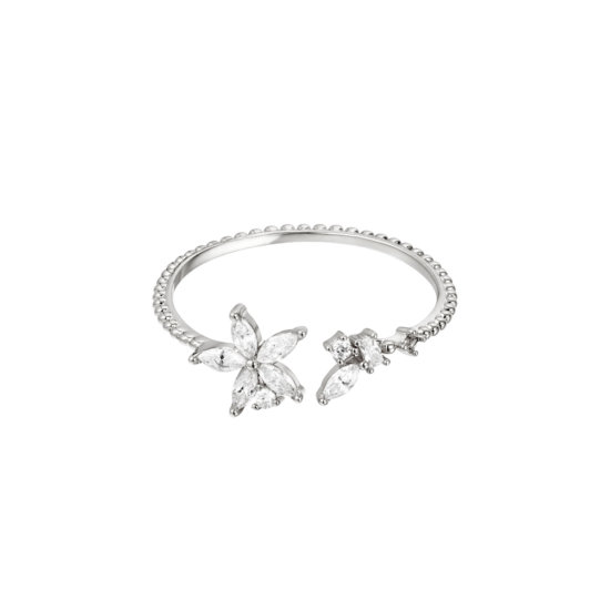 Ring Elegant Flower Silber