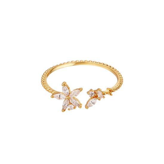 Ring Elegant Flower Gold